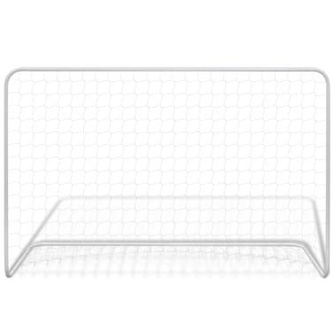 vidaXL Bramki piłkarskie z siatkami, 2 szt. 182x61x122 cm, stal, białe[3/5]