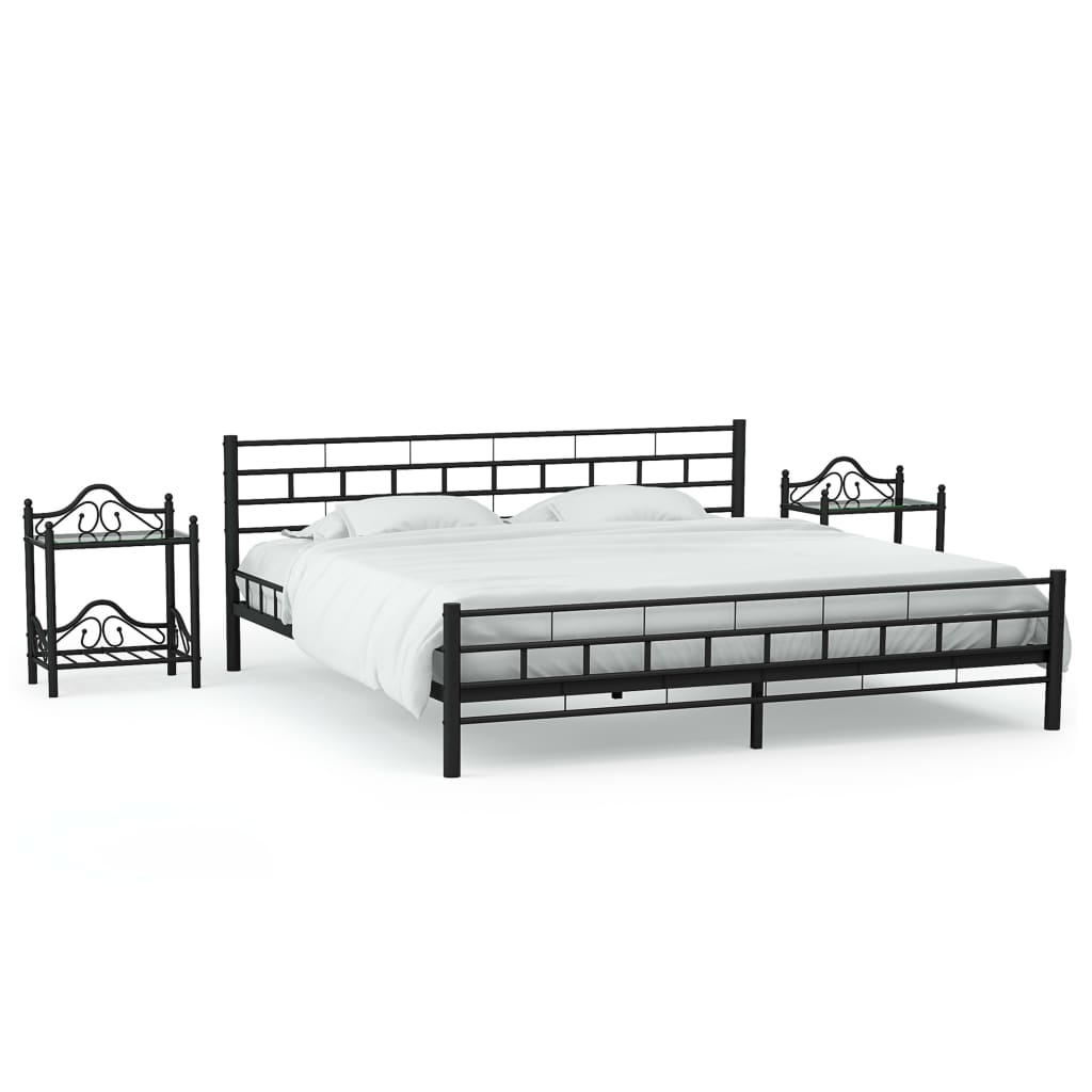 vidaXL Cadru de pat cu 2 noptiere, negru, 160 x 200 cm, metal imagine vidaxl.ro