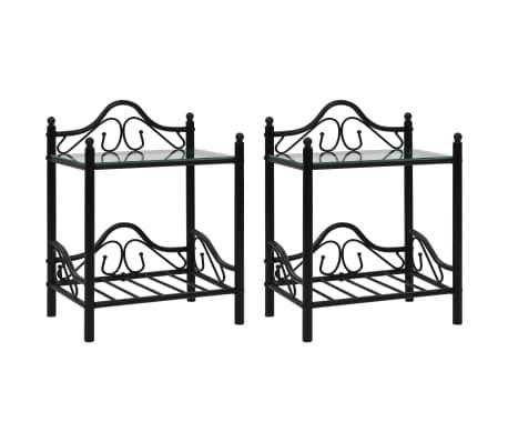 vidaXL Lovos rėmas su 2 nakt. stal., juod. sp., 140x200 cm, metalas[9/18]