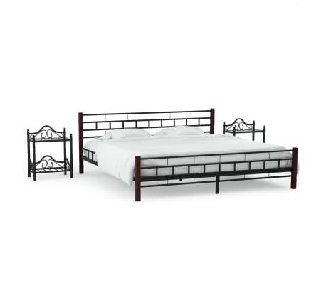 acheter vidaxl cadre de lit avec 2 tables de chevet noir. Black Bedroom Furniture Sets. Home Design Ideas