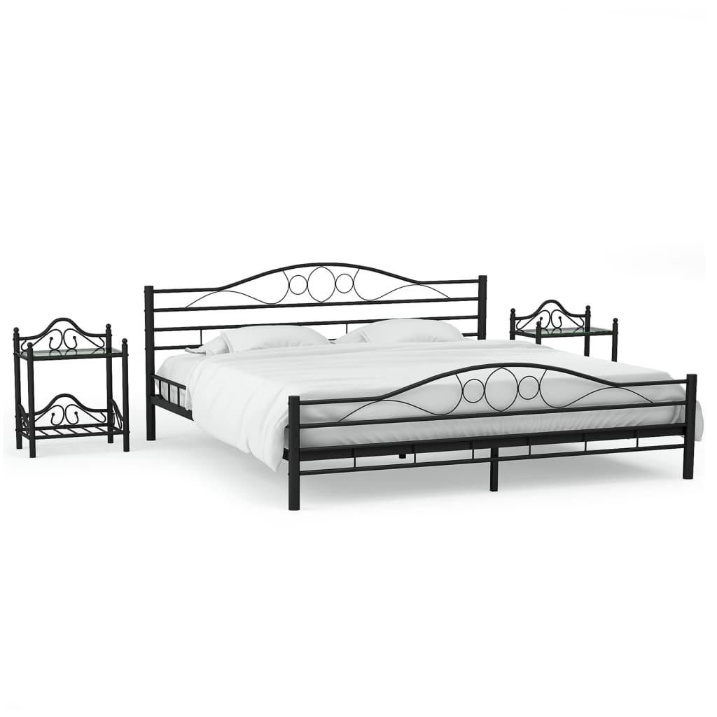vidaXL Cadru de pat cu 2 noptiere, negru, 180 x 200 cm, metal imagine vidaxl.ro