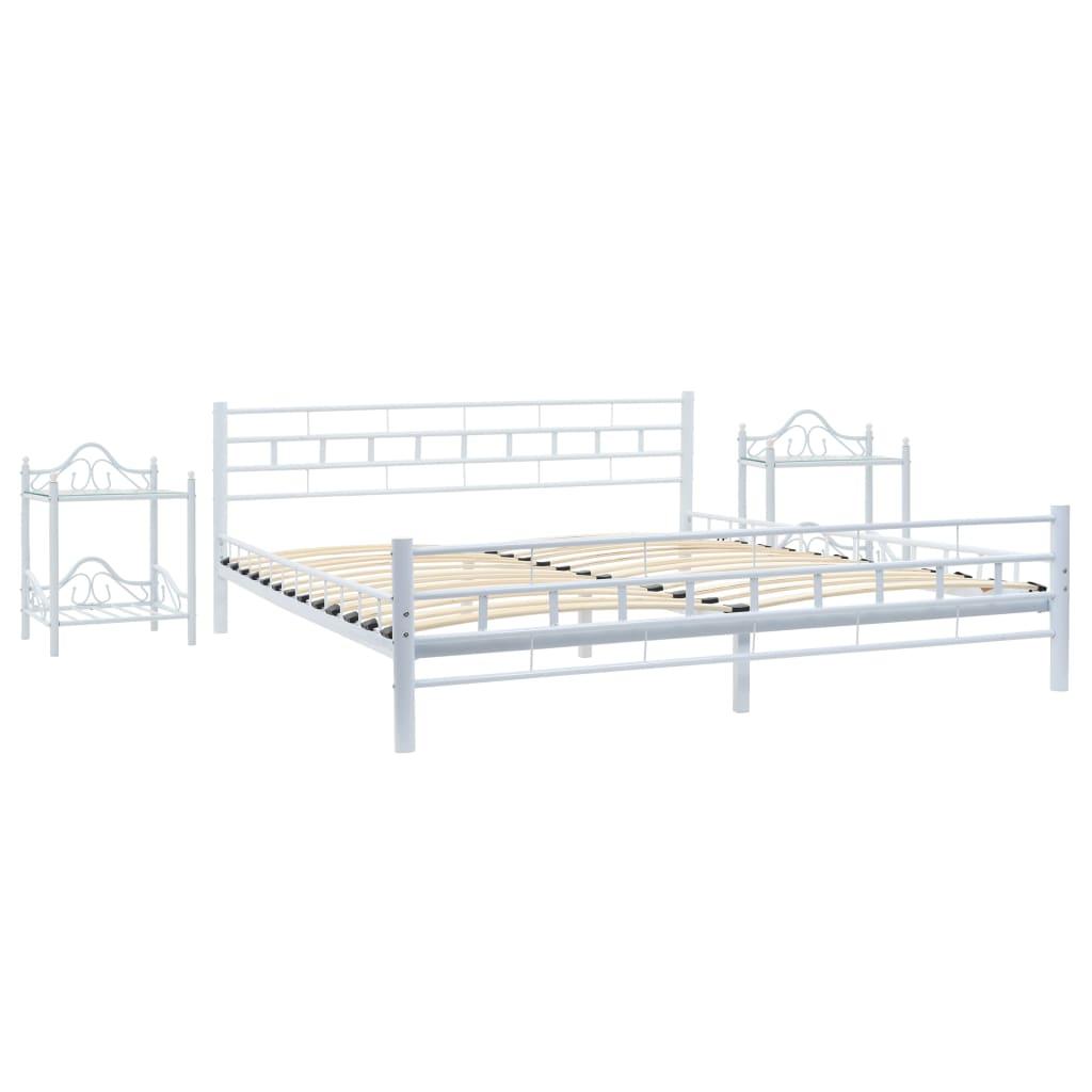 Afbeelding van vidaXL Bedframe met twee nachtkastjes metaal wit 140x200 cm