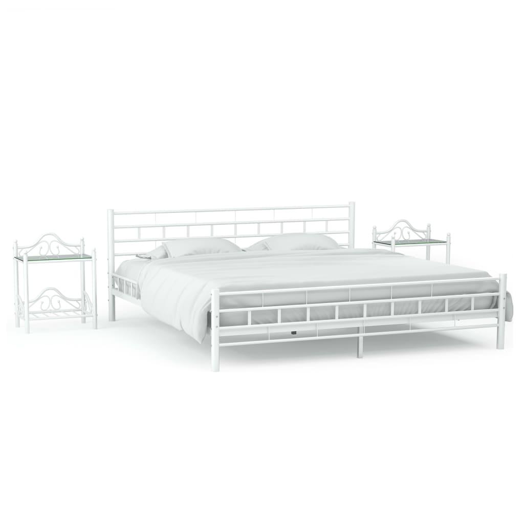vidaXL Cadru de pat cu 2 noptiere, alb, 160 x 200 cm, metal imagine vidaxl.ro