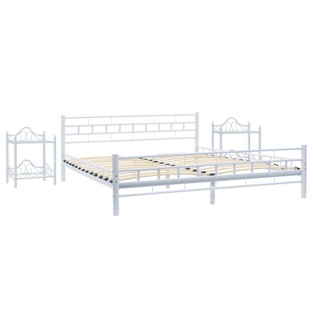 Afbeelding van vidaXL Bedframe met twee nachtkastjes metaal wit 180x200 cm