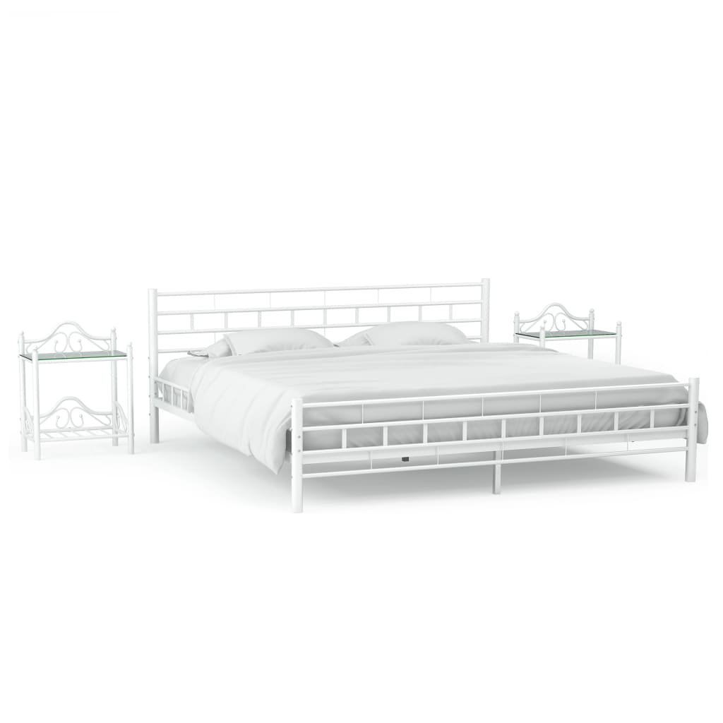 vidaXL Cadru de pat cu 2 noptiere, alb, 180 x 200 cm, metal imagine vidaxl.ro