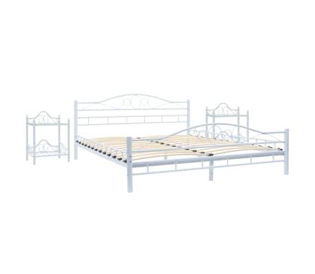 vidaXL Πλαίσιο Κρεβατιού με 2 Κομοδίνα 140 x 200 εκ. Λευκό Μεταλλικό[2/17]