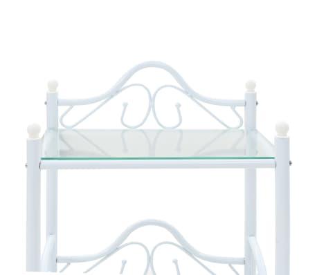 vidaXL Πλαίσιο Κρεβατιού με 2 Κομοδίνα 140 x 200 εκ. Λευκό Μεταλλικό[13/17]