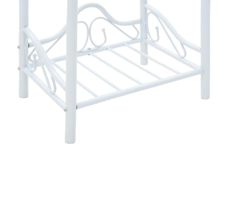 vidaXL Πλαίσιο Κρεβατιού με 2 Κομοδίνα 140 x 200 εκ. Λευκό Μεταλλικό[14/17]