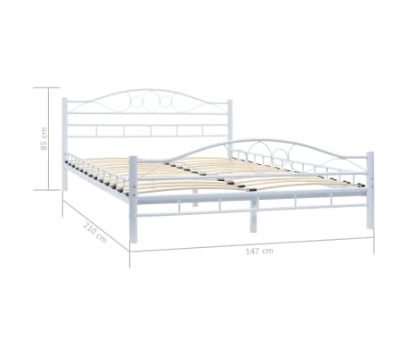 vidaXL Πλαίσιο Κρεβατιού με 2 Κομοδίνα 140 x 200 εκ. Λευκό Μεταλλικό[15/17]