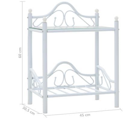 vidaXL Πλαίσιο Κρεβατιού με 2 Κομοδίνα 140 x 200 εκ. Λευκό Μεταλλικό[16/17]