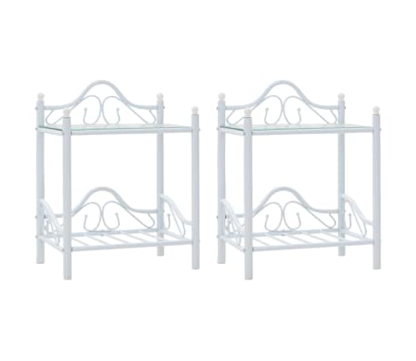 vidaXL Πλαίσιο Κρεβατιού με 2 Κομοδίνα 140 x 200 εκ. Λευκό Μεταλλικό[8/17]