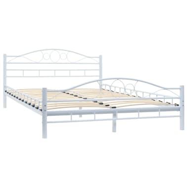 vidaXL Πλαίσιο Κρεβατιού με 2 Κομοδίνα 140 x 200 εκ. Λευκό Μεταλλικό[5/17]