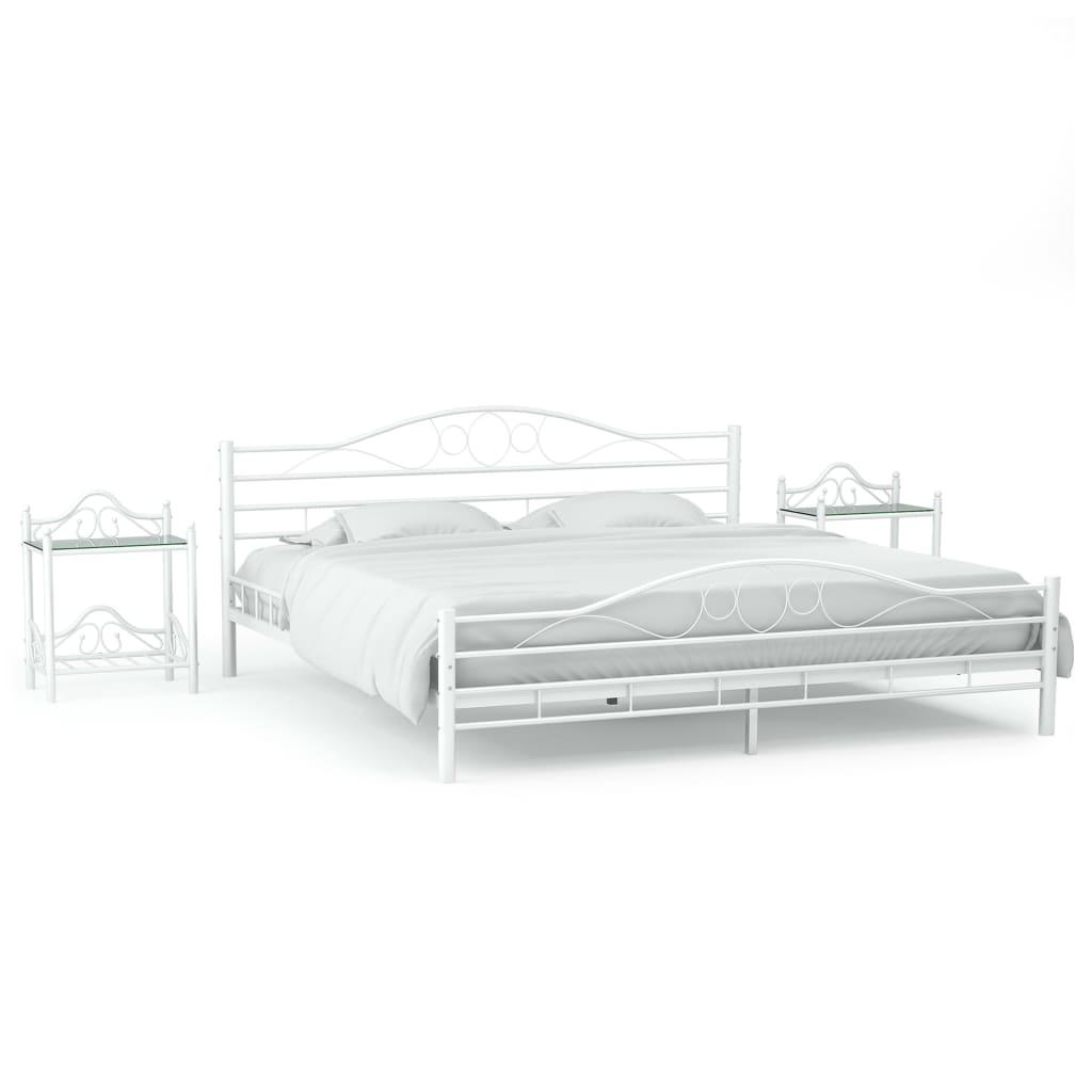 vidaXL Cadru de pat cu 2 noptiere, alb, 140 x 200 cm, metal imagine vidaxl.ro