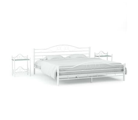 vidaXL Πλαίσιο Κρεβατιού με 2 Κομοδίνα 140 x 200 εκ. Λευκό Μεταλλικό[1/17]