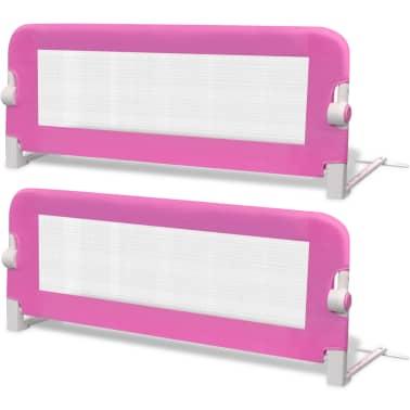 vidaXL Barrière de lit de sécurité pour tout-petits 2pcs Rose 102x42cm[2/7]