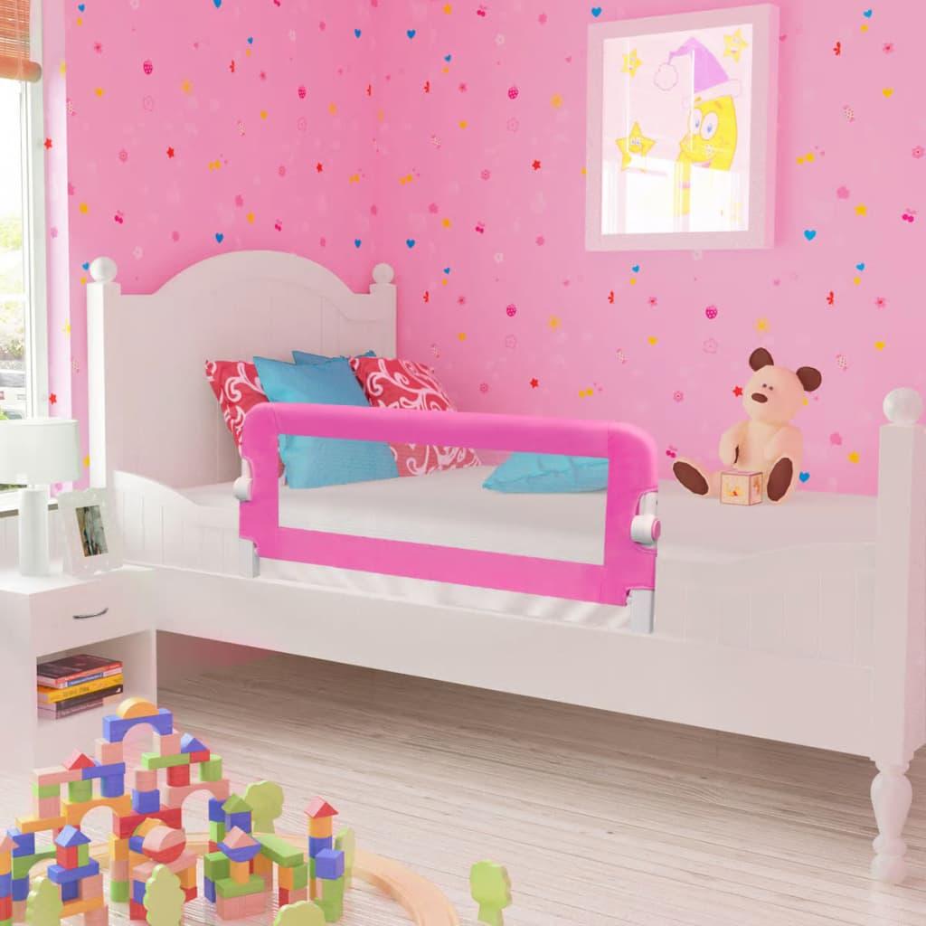 Dětské zábrany k postýlce 2 ks růžové 102 x 42 cm