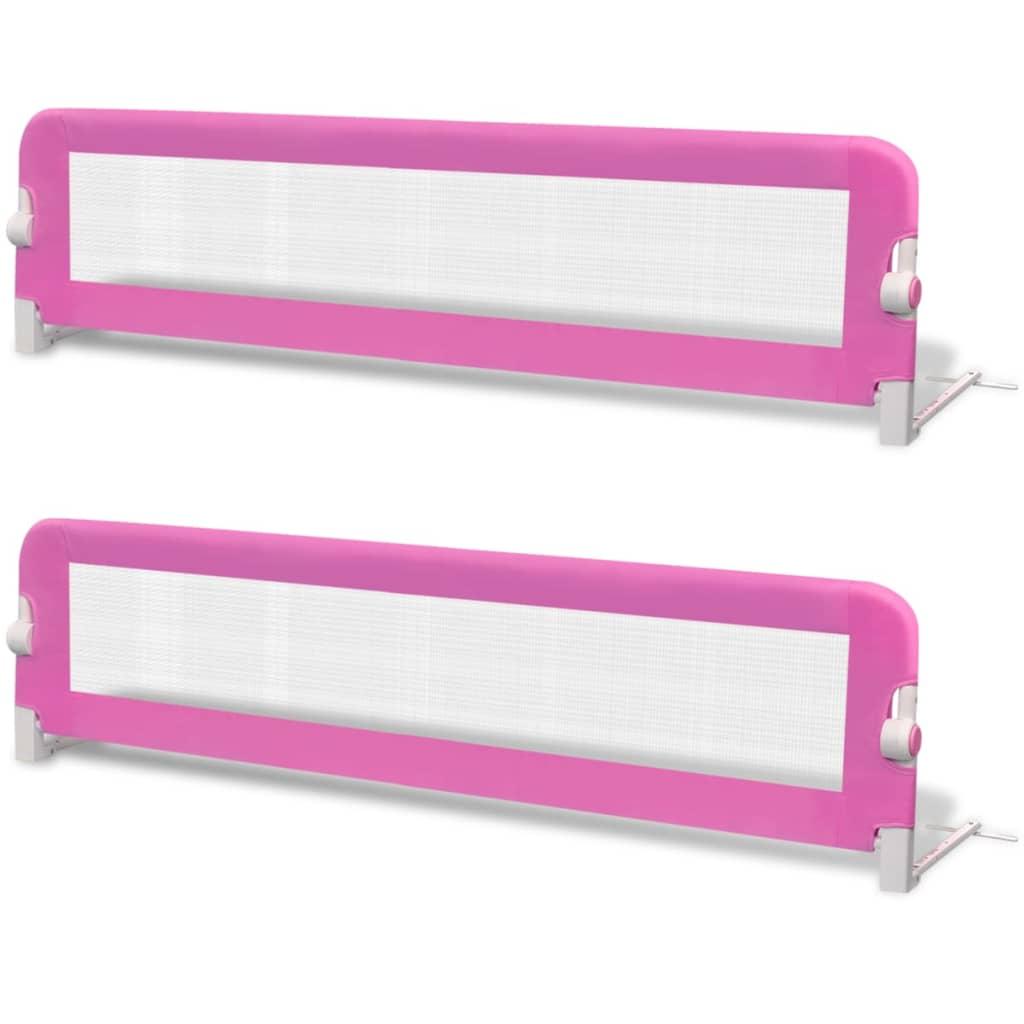 vidaXL Μπάρα Κρεβατιού Προστατευτική για Παιδιά 2 τεμ. Ροζ 150x42 εκ.