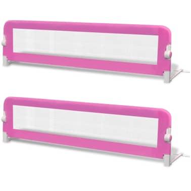 vidaXL Barrière de lit de sécurité pour tout-petits 2pcs Rose 150x42cm[2/7]