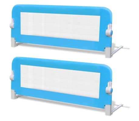 vidaXL Barrière de lit de sécurité pour tout-petits 2pcs Bleu 102x42cm[2/7]