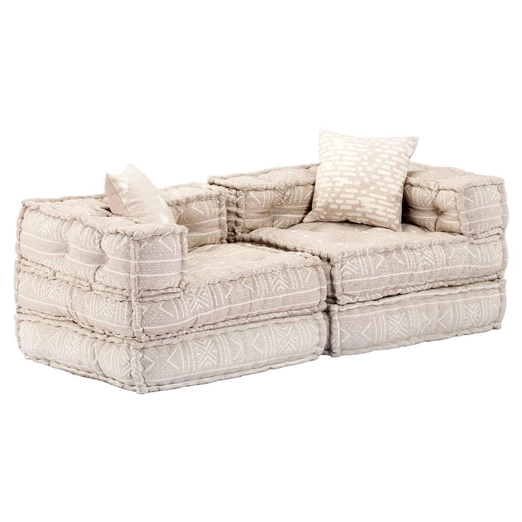 vidaXL 2-osobowa, rozkładana sofa modułowa, beżowa, tkanina