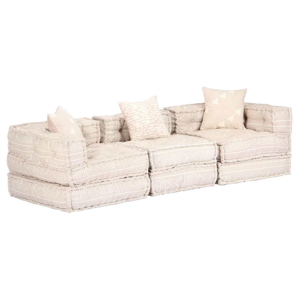 vidaXL 3-osobowa, rozkładana sofa modułowa, beżowa, tkanina