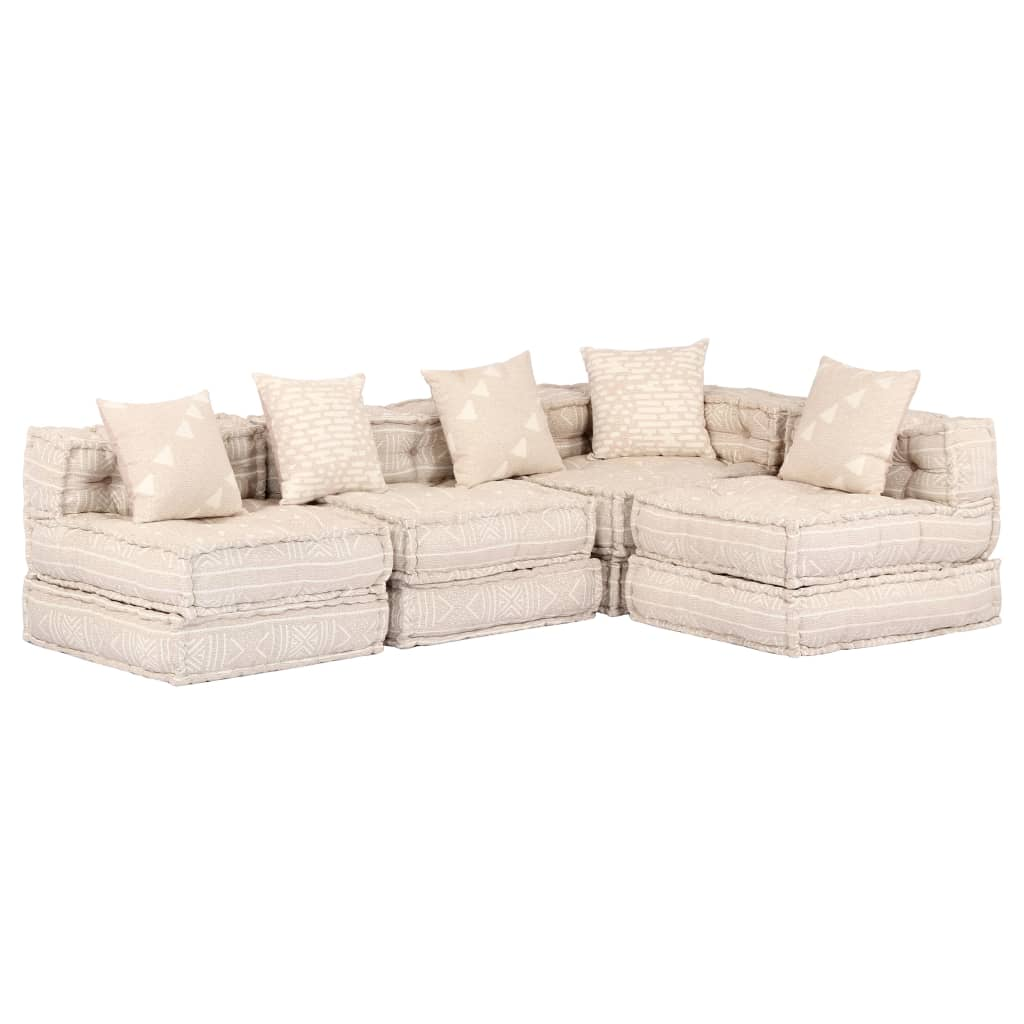 vidaXL 4-osobowa, rozkładana sofa modułowa, beżowa, tkanina