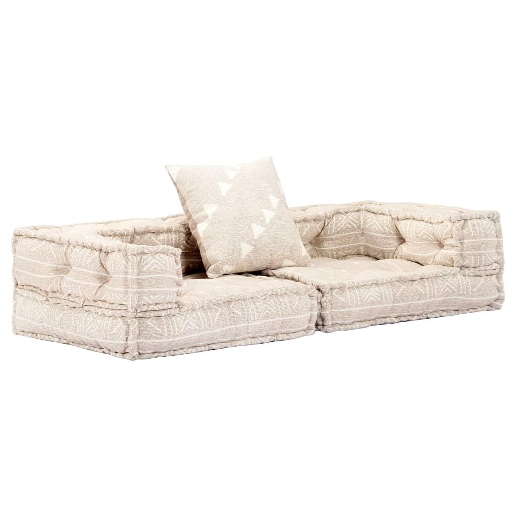 vidaXL 2-osobowa sofa modułowa z podłokietnikami, beżowa, tkanina