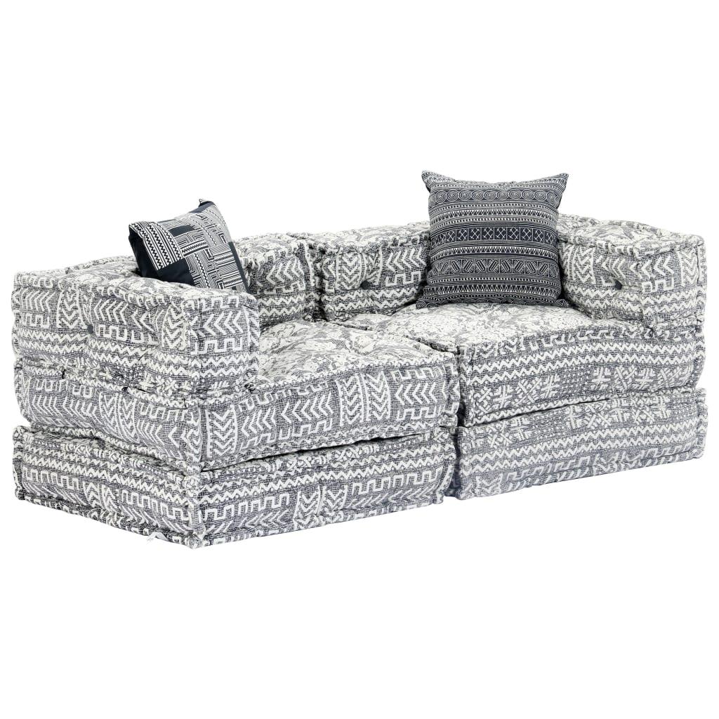 vidaXL Canapea puf modulară cu 2 locuri, gri deschis, material textil vidaxl.ro