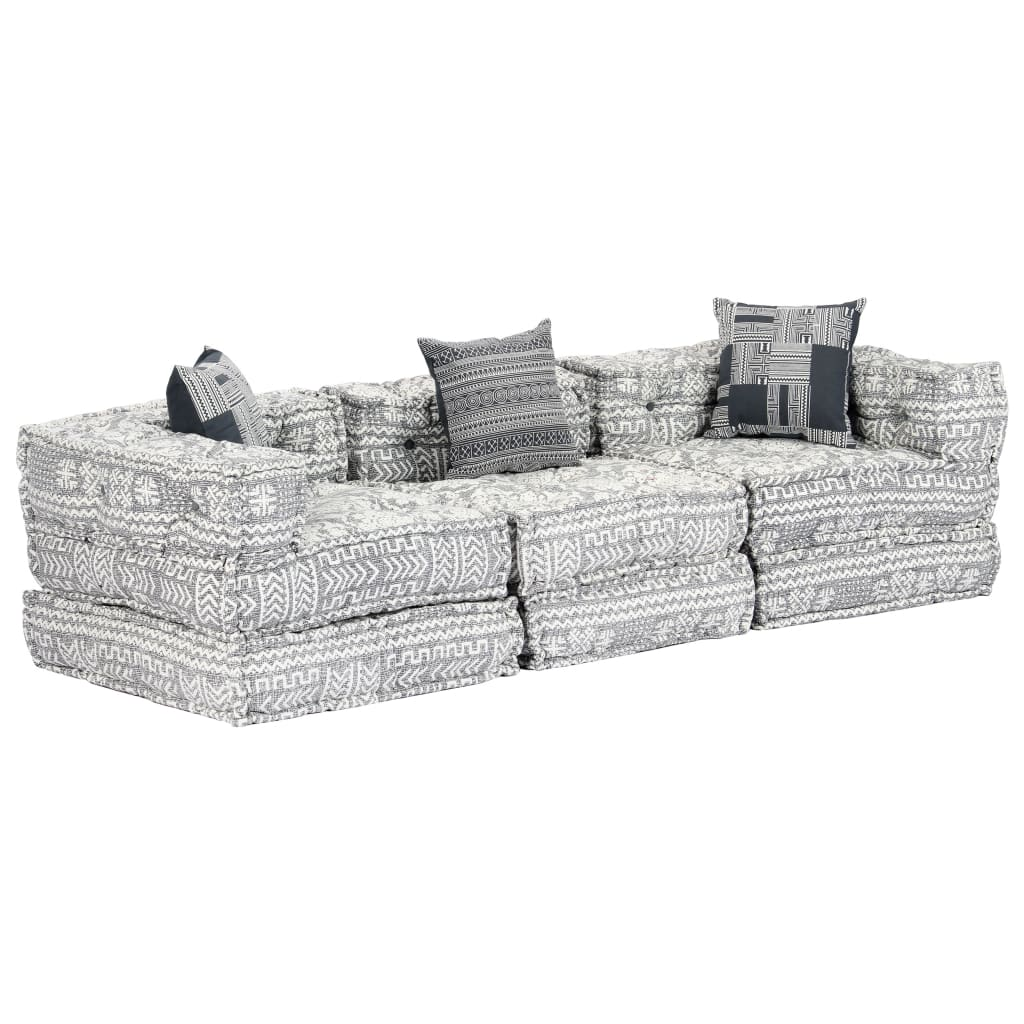 vidaXL Canapea puf modulară cu 3 locuri, gri deschis, material textil vidaxl.ro