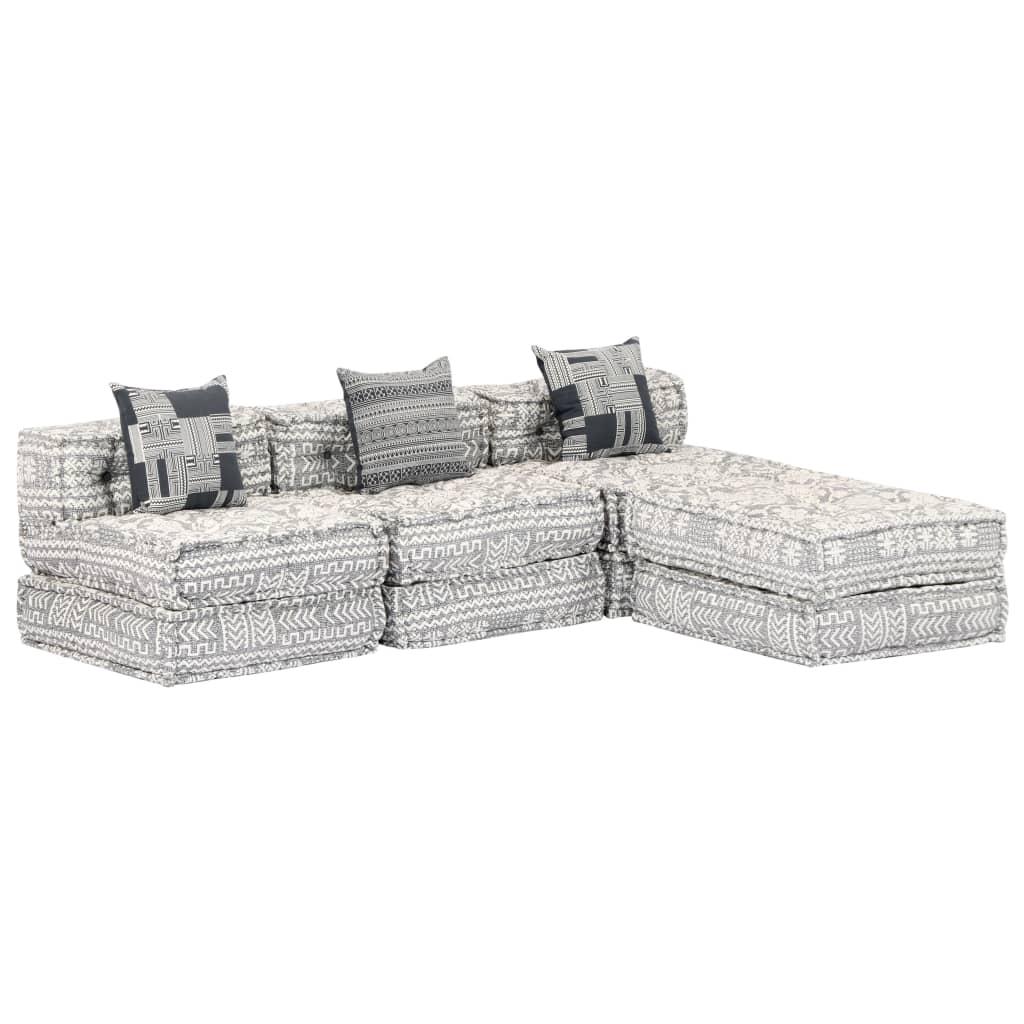 vidaXL Καναπές – Κρεβάτι Τριθέσιος Αρθρωτός Γκρι Υφασμάτινος