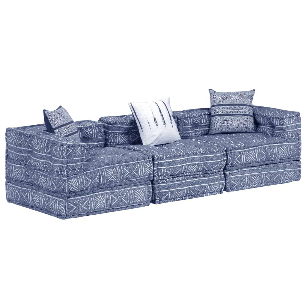 vidaXL 3-osobowa kanapa modułowa, niebieska, tkanina