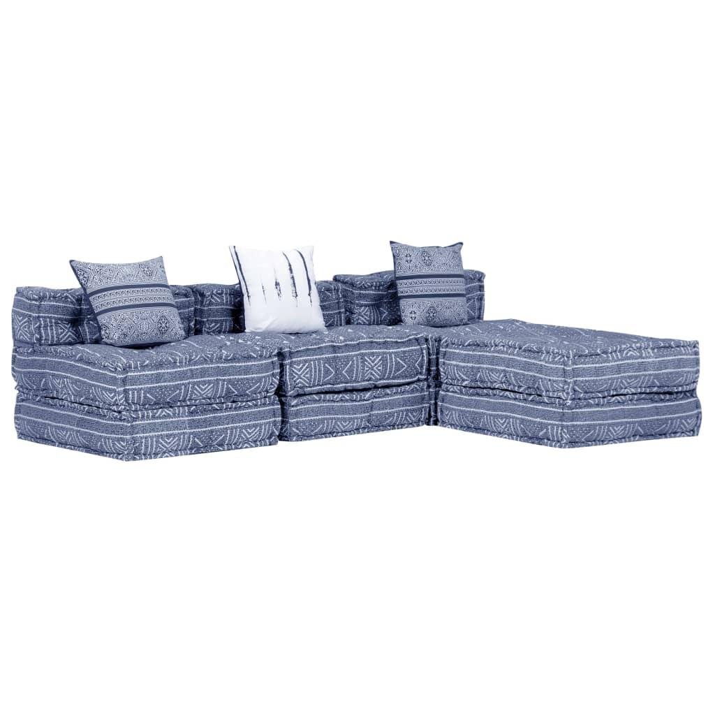 vidaXL 3-osobowa, modułowa sofa, indygo, tkanina