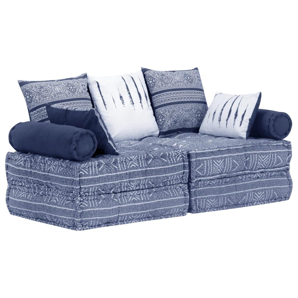 vidaXL 2-osobowa, modułowa sofa, indygo, tkanina