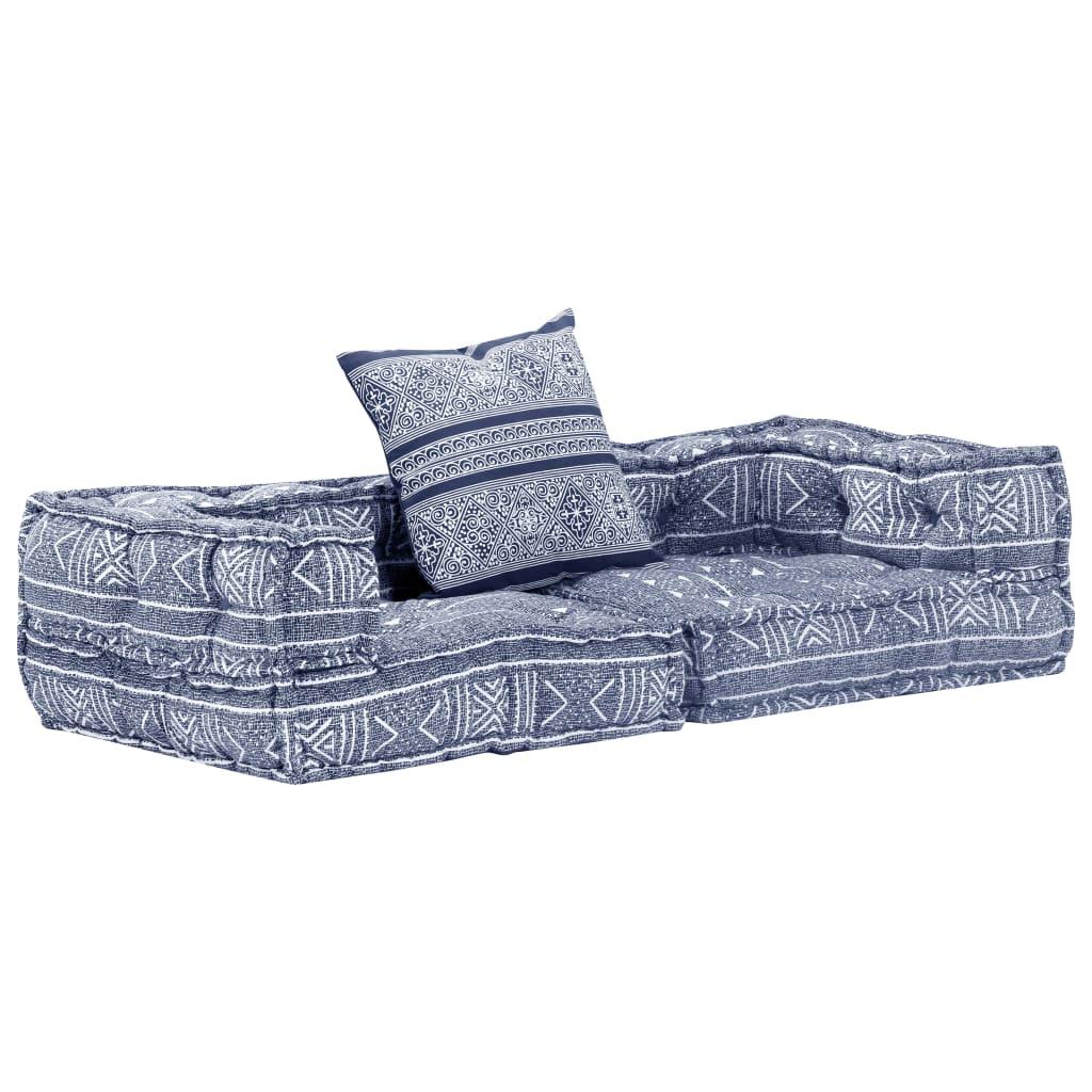 vidaXL Canapea puf modulară cu 2 locuri, indigo, material textil vidaxl.ro