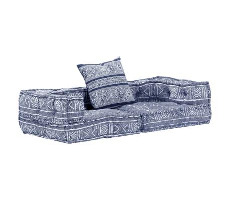 vidaXL Dvivietė modulinė sofa-lova, indigo spalvos, audinys