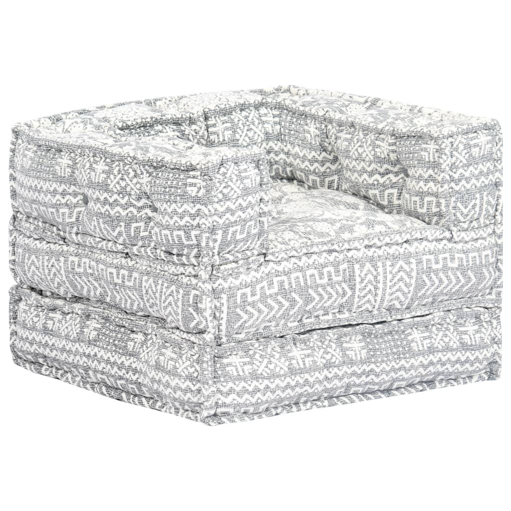 vidaXL Fotel modułowy, szary, tapicerowany tkaniną