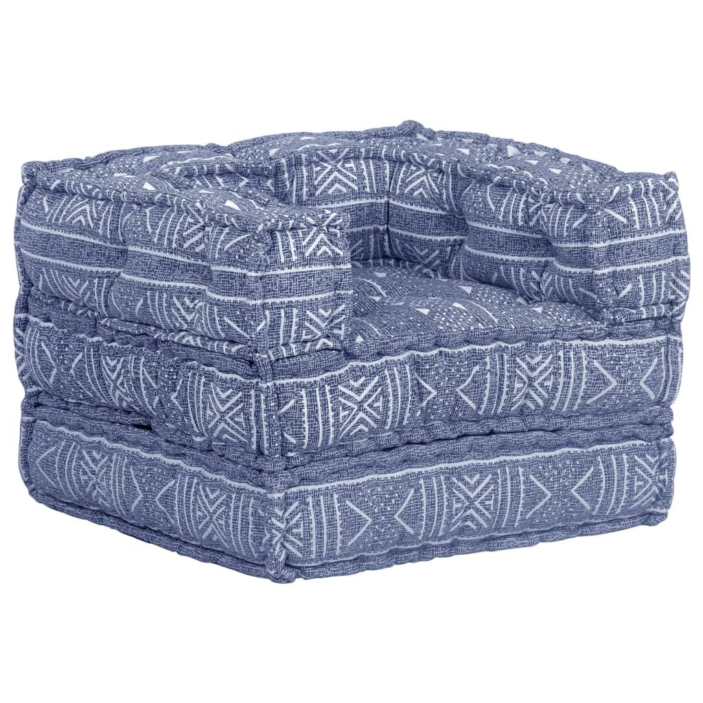 vidaXL Fotel modułowy tapicerowany tkaniną, indygo, patchwork
