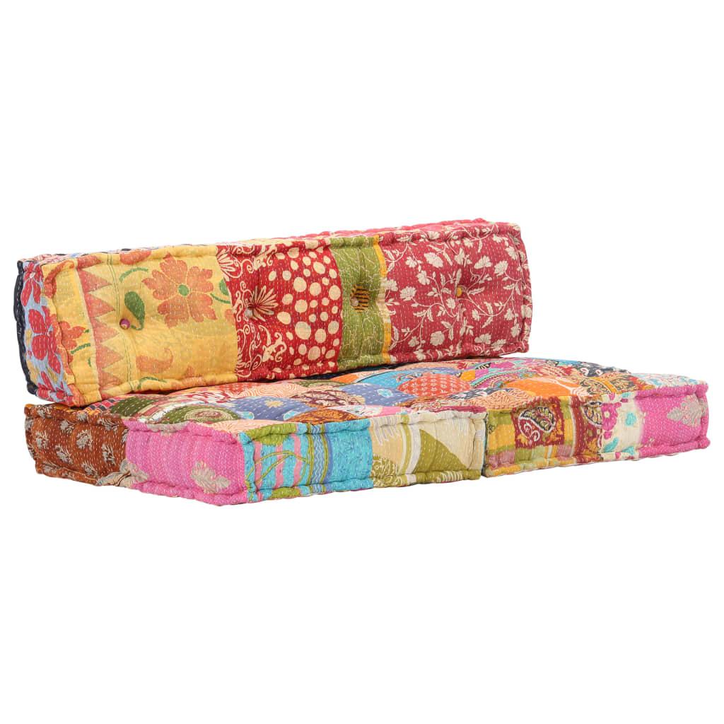 Poduška na paletovou pohovku vícebarevná textilní patchwork