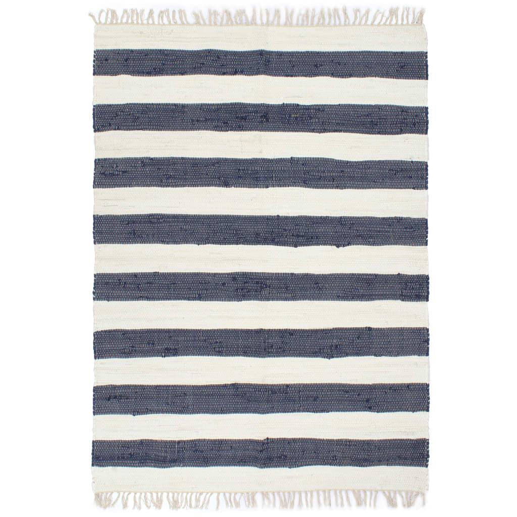 999133911 Handgewebter Chindi-Teppich Baumwolle 160x230cm Blau und Weiß