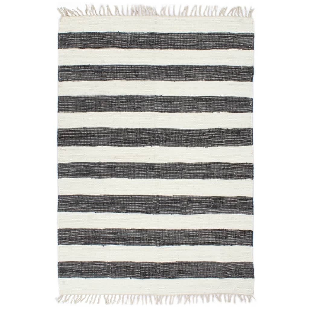 Handgewebter Chindi-Teppich Baumwolle 120x170cm Anthrazit Weiß