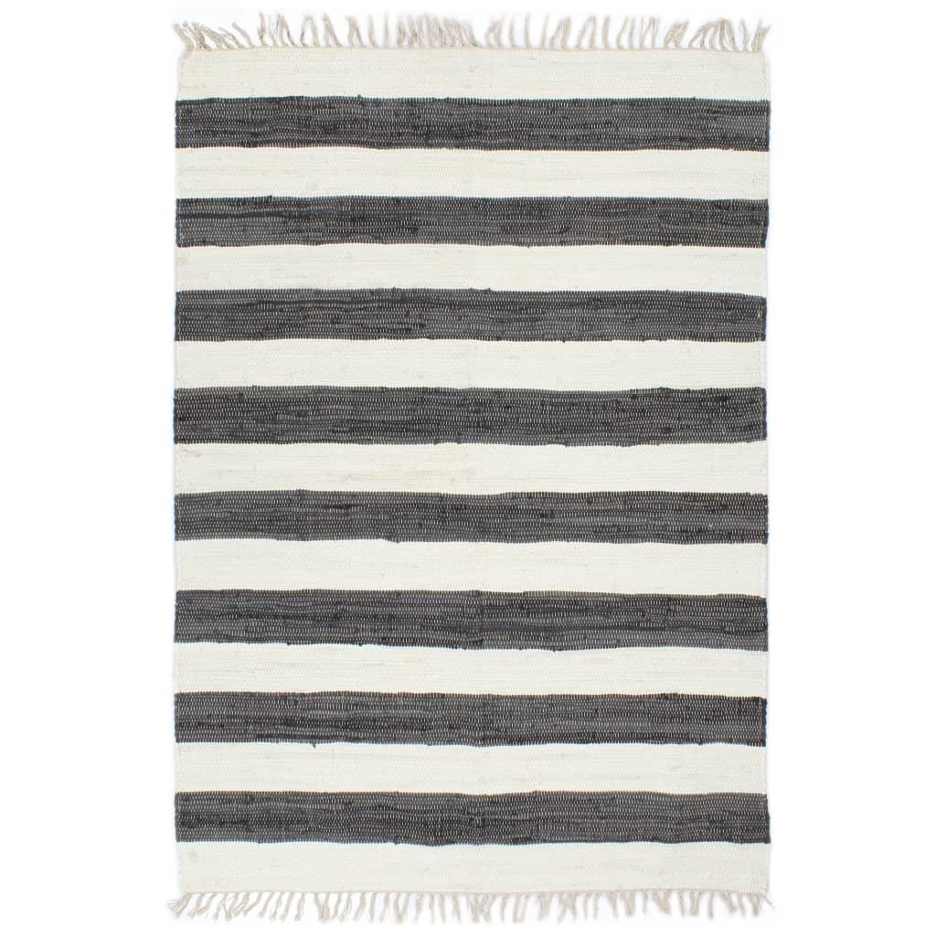 Handgewebter Chindi-Teppich Baumwolle 160x230cm Anthrazit Weiß