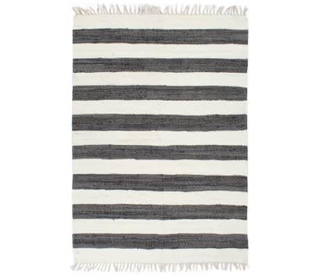 vidaXL Ručne tkaný koberec Chindi  antracitovo-biely 160x230 cm bavlnený
