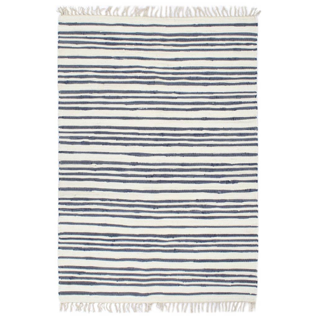 Handgewebter Chindi-Teppich Baumwolle 120x170cm Blau und Weiß