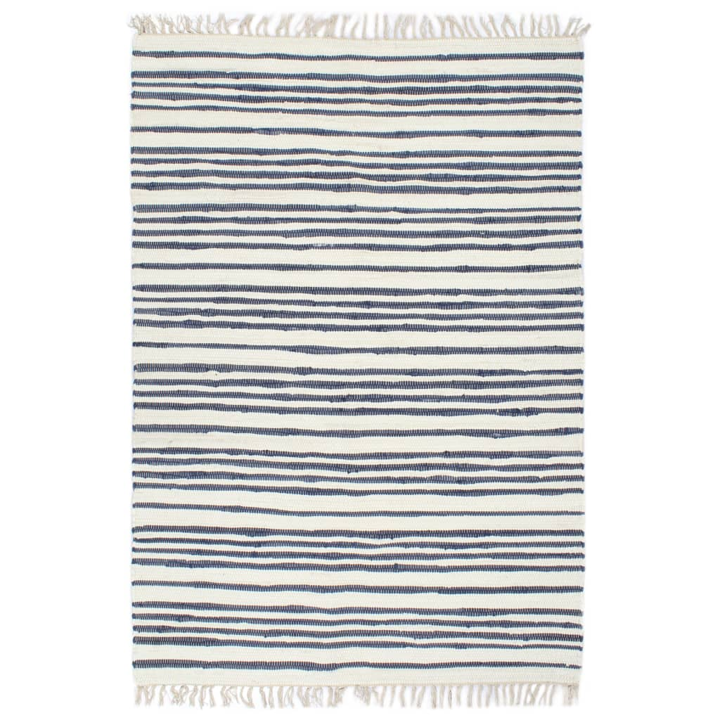 Handgewebter Chindi-Teppich Baumwolle 200x290cm Blau und Weiß