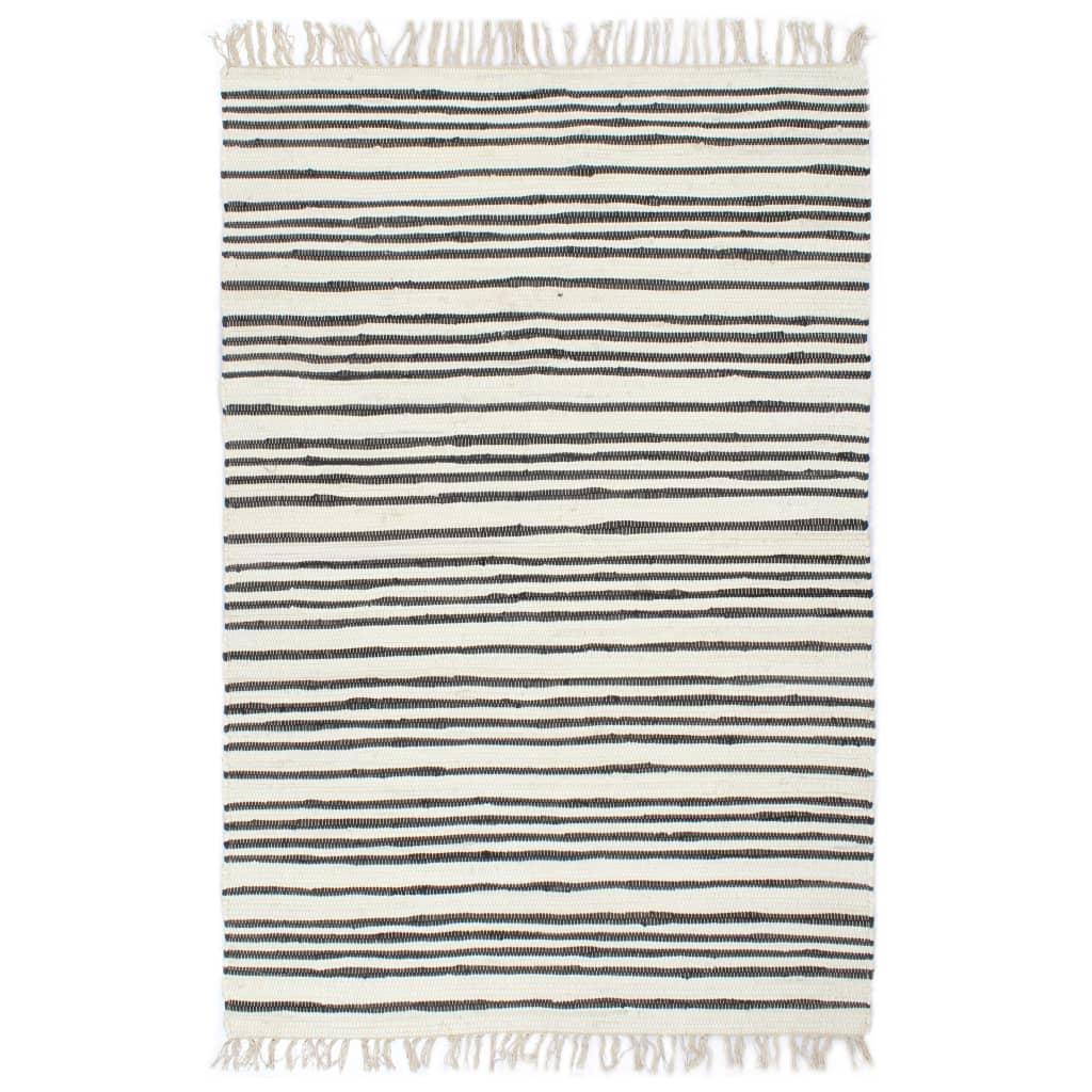 999133928 Handgewebter Chindi-Teppich Baumwolle 200x290cm Anthrazit Weiß