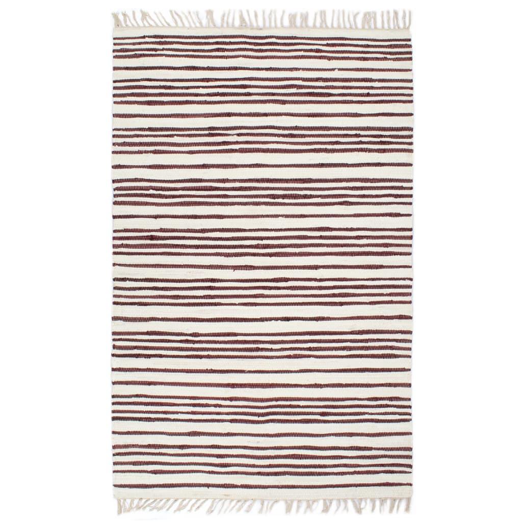 999133930 Handgewebter Chindi-Teppich Baumwolle 120x170cm Weinrot Weiß