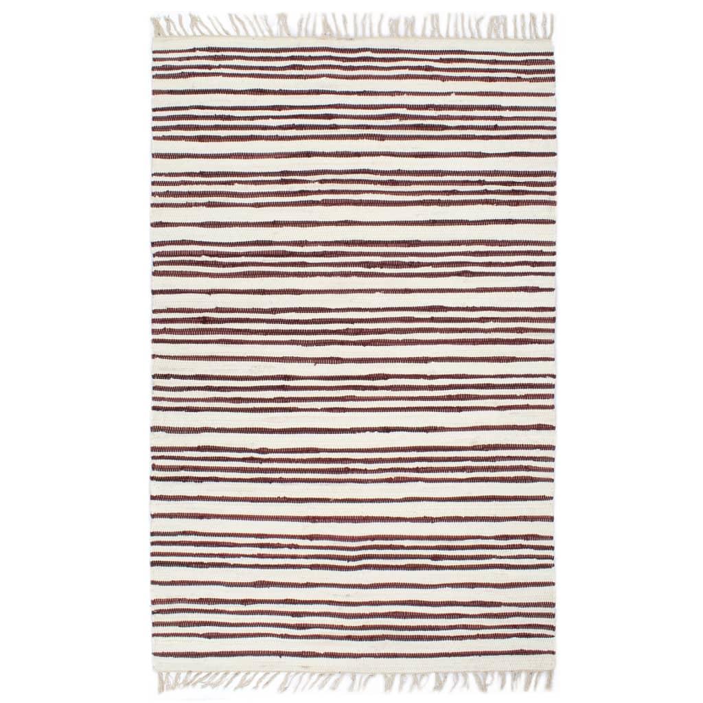 Handgewebter Chindi-Teppich Baumwolle 200x290cm Weinrot Weiß