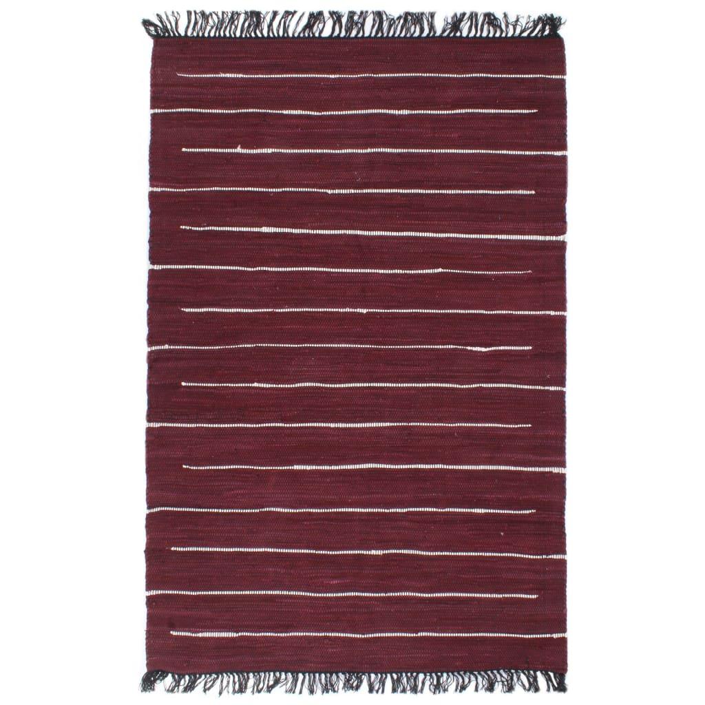Handgewebter Chindi-Teppich Baumwolle 160×230 cm Weinrot