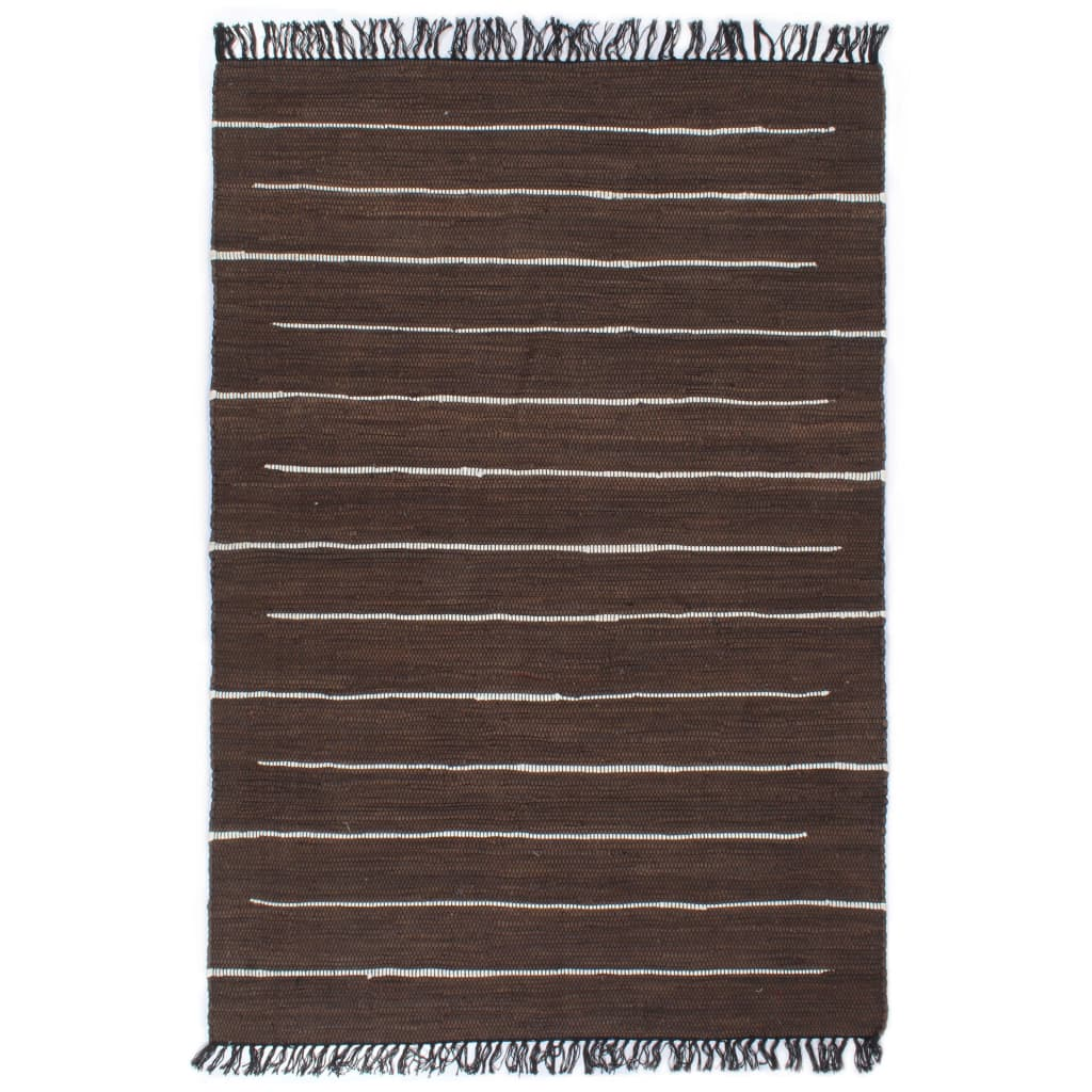 Handgewebter Chindi-Teppich Baumwolle 120×170 cm Braun