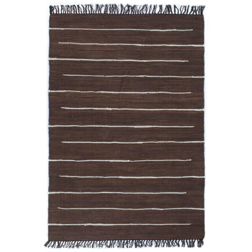 Handgewebter Chindi-Teppich Baumwolle 160×230 cm Braun